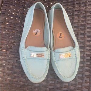 Coach mint green loafers